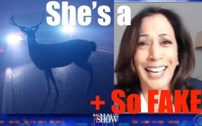 Kamala Harris- Deer in the Headlights with Stephen Colbert; Imagine her on World Stage
